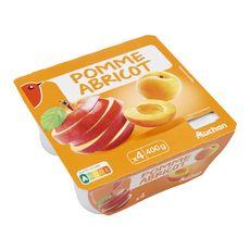 AUCHAN Auchan Spécialité de fruits pomme abricot coupelle x4 -100g 4 coupelles 100g