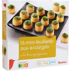 AUCHAN Mini feuilleté aux escargots à la Bourguignonne 16 pièces 170g