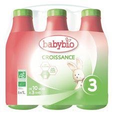 Babybio Lait de croissance liquide bio dès 10 mois 6x1l