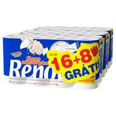 RENOVA Essuie-tout blanc demie-feuilles 16 rouleaux +8 offerts