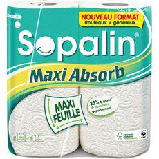SOPALIN Essuie-tout blanc maxi feuilles absorbantes 4 standards 2 rouleaux