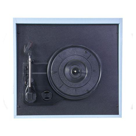 Meuble Tourne Disque Bluetooth Bleu Mad Lpretromk Madison Pas