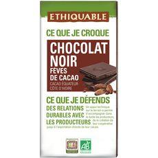 Ethiquable Tablette de chocolat noir bio fèves de cacao 100g