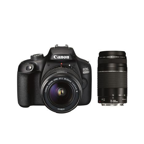 CANON Appareil Photo Réflex EOS 4000D + Objectif EF-S 18-55 mm III + 75-300 III