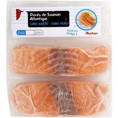AUCHAN Pavé de saumon d'Atlantique sans arête  sans peau 2 pièces 250g