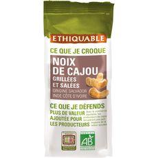 ETHIQUABLE Noix de cajou bio grillées et salées 125g