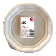 ACTUEL Actuel assiettes plates blanches plastique 22cm x50
