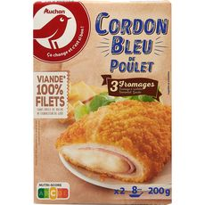 AUCHAN Cordon bleu de poulet aux 3 fromages 2 pièces 200g