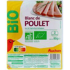 Auchan bio blanc poulet supérieur 2 tranches 80g