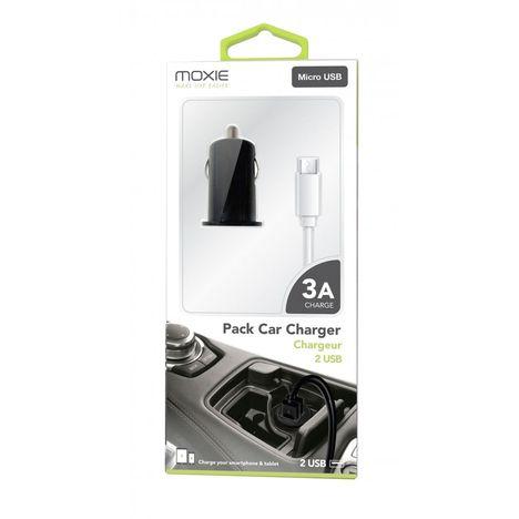MOXIE Chargeur - Allume cigare - Micro USB - Blanc et noir