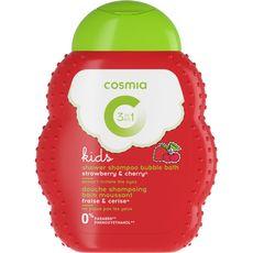 Cosmia Gel douche bain corps et cheveux enfant parfum fraise & cerise 250ml