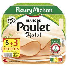 FLEURY MICHON Fleury Michon Blanc de poulet halal 6 tranches fines +3 offertes 270g 6+3 tranches 270g