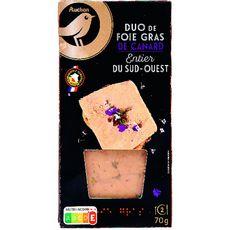 AUCHAN GOURMET Foie gras de canard entier du Sud-Ouest duo 2 portions 2x35g