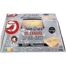 AUCHAN Foie gras de canard avec morceaux 100% Sud-Ouest aux poivres 12 parts 500g
