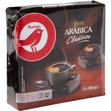 AUCHAN Café moulu classico 100% arabica 2 paquets de 250g 500g