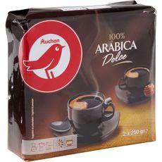 AUCHAN Café moulu dolce 100% arabica 2 paquets de 250g 500g