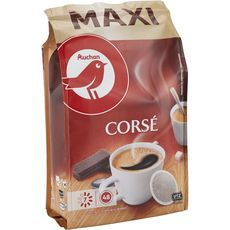 AUCHAN Dosettes de café corsé compatibles Senseo 48 dosettes 333g