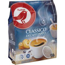 AUCHAN Dosettes de café classico décaféiné compatibles Senseo 36 dosettes 250g