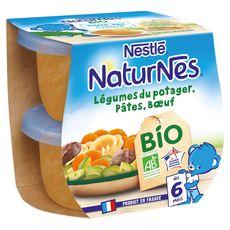 Nestlé Naturnes bol légumes du potager pâtes boeuf bio dès 6 mois 2x130g
