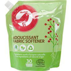 AUCHAN Adoucissant fabric softener ingrédients actifs d'origine naturelle 30 lavages 750ml