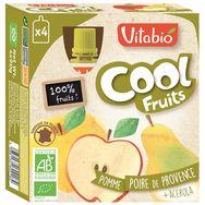 Vitabio Cool Fruits pomme poire bio 4x90g