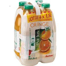 Auchan Pur jus d'orange sans pulpe 4x1,5l