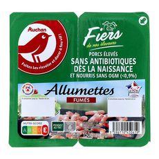 AUCHAN Auchan Allumettes fumées porcs élevés sans antibiotiques 2x75g 2x75g