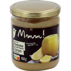 AUCHAN GOURMET Purée de pomme du sud-ouest et citron de Corse sans sucres ajoutés en bocal 400g