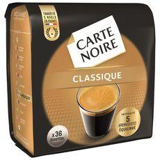 CARTE NOIRE Dosettes de café classique compatibles Senseo 36 dosettes 250g