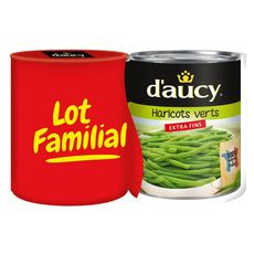 D'Aucy haricots verts extra fins 2x440g lot familial