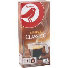 AUCHAN Capsules de café espresso classico compatibles Nespresso 10 capsules 52g