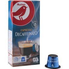 AUCHAN Capsules de café espresso décaféiné compatibles Nespresso 10 capsules 52g