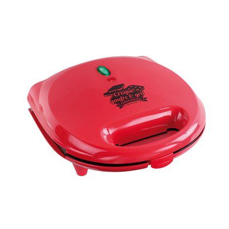 DOMOCLIP Appareil à croque-monsieur + gril + gaufres DOP133, Rouge