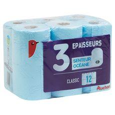 Auchan Papier toilette bleu senteur océane 3 épaisseurs x12