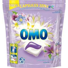 Omo lessive douceur fleur jasmin 2 en 1 écodose x30 -0,723l