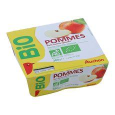 AUCHAN BIO Purée de pommes sans sucres ajoutés 4x95g