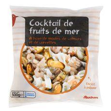 AUCHAN Cocktail de fruits de mer à base de moules, calamars,crevettes 400g