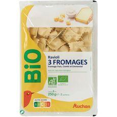Auchan bio raviolis aux 3 fromages 250g