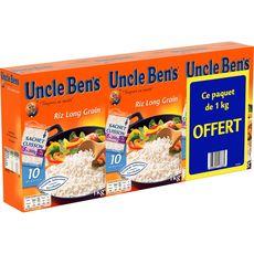 UNCLE BEN'S Riz long grain sachet cuisson 3 x 5 sachets 3kg dont 1 offert