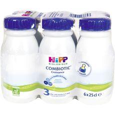 HIPP Combiotic 3 lait de croissance bio liquide dès 10 mois 6x25cl