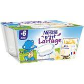Nestlé Nestlé P'tit laitage petit pot dessert lacté à la vanille dès 6 mois 4x100g