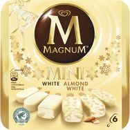 Magnum glace chocolat blanc amandes mini bâtonnet x6 -300g