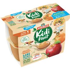KIDIFRUIT Kidifruit compote pomme abricot cup 4x85g