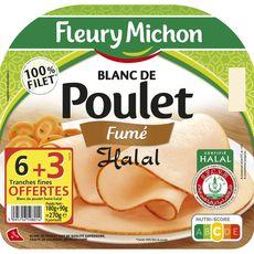 FLEURY MICHON Jambon de poulet fumé halal 6 tranches + 3 offertes 270g