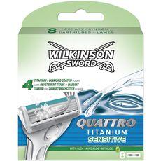WILKINSON Quattro Titanium Sensitive recharges lames de rasoir 8 recharges