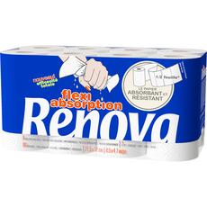 RENOVA Renova Essuie-tout blanc en demie feuille x8 8 feuilles