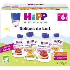 HIPP Gourdes dessert lactée aux fruits bio 2 variétés dès 6 mois 8x90g
