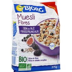 BJORG Bjorg Muesli bio fibres et son de blé, figues et pruneaux 375g 375g