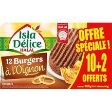ISLA DELICE Burger à l'oignon préparation viande hachée halal 10+2 offerts 960g