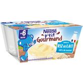 Nestlé p'tit gourmand crème de riz lait 4x100g dès 6 mois
